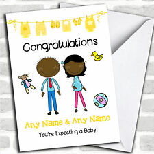 Black Mum To Be Congratulations Expecting A Baby Pregnancy Customised Card