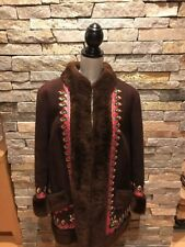 EUC Brown Boho Vintage Embroidered Shearling Sheepskin Jacket - Poland - Large