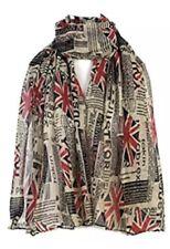 Newspaper Union Jack Design Viscose Large Ladies Scarf Shawl Sarong Wrap