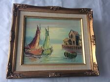 Original Oil Painting on Canvas Signed by Billing Sleeping Port Framed 13.5X11.5
