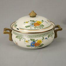 Asta German Enamel Cookware 2 Qt Dutch Oven w/Lid Floral Pattern Brass Handle