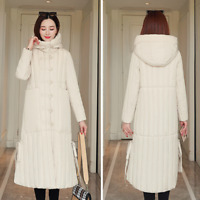 Womens Ladies Hooded Button Long Puffer Parka Jacket Quilted Winter Warm Coat UK