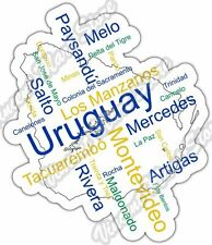 "Uruguay Montevideo Country Map Word Cloud Bumper Vinyl Sticker Decal 4""X5"""