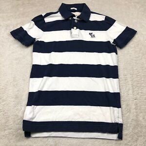 Abercrombie & Fitch Polo Shirt Adult Medium White Blue Striped Muscle Fit Men *