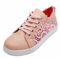 LADIES PINK LACE CANVAS FLAT TRAINER PLIMSOLL PUMPS CASUAL COMFY SHOES SIZES 3-8