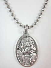 """St Christopher / St Anthony Medal Italy Necklace 24"""" Ball Chain Gift Box & Card"""
