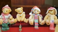LOT 4 Enesco Cherished Teddies bear Scarf christmas Stocking Hangers noel ribbon