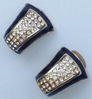 boucles d'oreilles clips vintage couleur or décor émail noir cristaux 664
