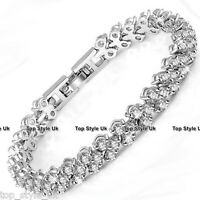 Silver Crystal Diamante Gem Bridal Wedding Tennis Bracelet Xmas Gift for Her SU1
