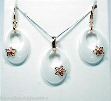 TAPERED OVAL WHITE CERAMIC ROSE GOLD OVER SOLID SILVER HAWAIIAN PLUMERIA SET 18""