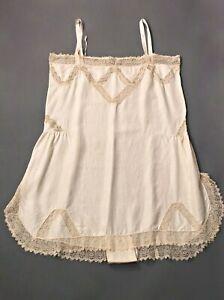 VTG Women's 20s 30s Ivory Underwear / Slip w Lace Sz L 1920s 1930s Lingerie