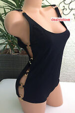 NWT rare Michael Kors Black One Piece Retro Swimsuit Swim gold rings cruise, 10