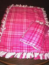 "THROW & PILLOW*Pink & White Check*Custom Handmade Tied 40""x 26"" Blanket"