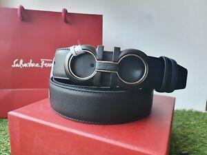 Salvatore Ferragamo dualside black/blue belt with Gancini buckle