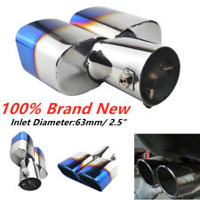 """Chrome Stainless Steel Rear Dual Exhaust Pipe Tail Muffler Tip ID 2.5"""" Universal"""