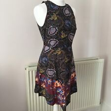 Topshop Floral Paisley Boho Multicoloured Cutout Back Patterned Dress UK 12
