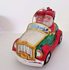 Mr. and Mrs. Clause in a Car Blown Glass Christmas Ornament BestPysanky