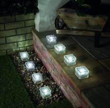 Solar Glass Brick Garden Path Light, White LED, 8 Pack