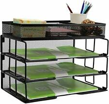 Reliatronic Mesh Office Desk Organizer, Stackable File Letter Tray Organizer Per
