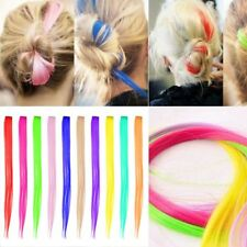 "1x 22"" Hair Extensions Neon Clip In Long Synthetic Rainbow Highlight Cosplay FUN"