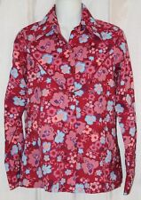 Vtg Floral Western Shirt Medium Tem Tex Pink Pearl Snap Long Sleeve Rodeo USA