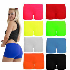 Ladies Women Neon Lycra Stretchy Hot Pants Sexy Shorts-Party Gym Club Shorts