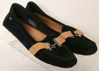 UGG 1010100 Aven Black Slip-On Moc Toe Suede Casual Loafers Women's US 6.5