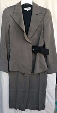 Emporio Armani Womens Jacket and Pant Suit Size 6 Grey Virgin Wool Belt Striped