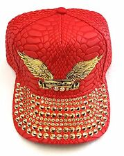 ROBIN S JEAN EMBELLISHED HAT CAP OSFA 100% AUTHENTIC RED GOLD ac739f8a379