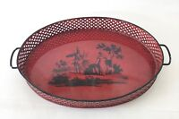 Vintage Metal Tray, Red, Handpainted Medieval Scene, Perforated Basket Style Rim