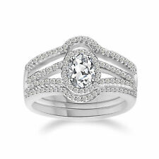 925 Sterling Silver Oval Cubic Zirconia Luxury Women's Wedding Ring Set