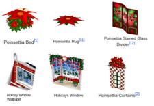 Webkinz online game virtual items CHRISTMAS POINSETTIA STOCKING complete set $30