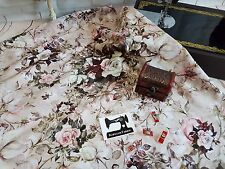 50cm wide Vintage Roses print cotton lycra 4 way stretch knit fabric floral