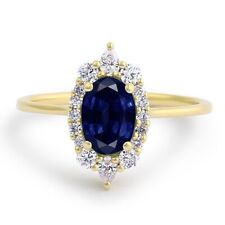 14K Yellow Gold Oval 1.25 Ct Diamond Blue Sapphire Engagement Ring Size M N1/2 P
