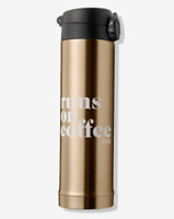 VICTORIA'S SECRET PINK THERMOS RUNS ON COFFEE, NEW, FREE SHIP, GOLDEN COLOR