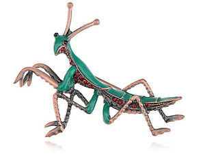 Xmas Style Red Green Crystal Rhinestone Mantis Insect Bug Brass Tone Brooch Pin