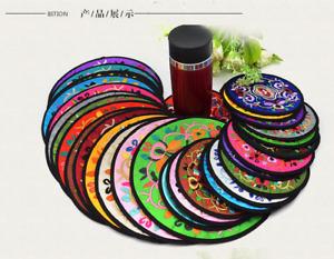 2PC round silk embroidery coffee tea coaster, placemat, bowl mat, anti-scald mat