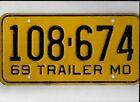 "MISSOURI 1969 license plate ""108-674"""