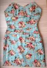 Green Blue Pink Floral Rose Pattern Mini Dress Fitted Size 6 8 Xs Festival Beach