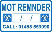 MOT Reminder Sticker Personalized  YOUR Number Garage Sticker MOT Sign QTY 100