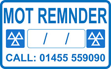 Recordatorio pegatina personalizada tu Número Mot garaje Pegatina Mot signo Qty 100
