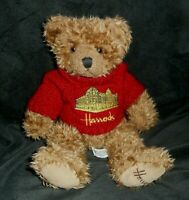 "12"" HARRODS KNIGHTSBRIDGE BROWN TEDDY BEAR RED SWEATER STUFFED ANIMAL PLUSH TOY"