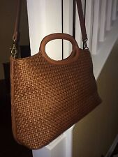 FOSSIL, Authentic, Lovely Used, Brown Tone Straw/ leather Cross Body XL Purse.
