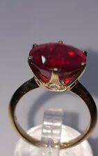 ❤JAYNES GEMS STUNNING   AAA 9.50CT RUBY.12MM SOLITAIRE 9K YELLOW GOLD RING UK N