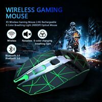 2.4G Bluetooth Wireless Dual Mode Gaming Mouse Mice Backlit 2400DPI Rechargeable