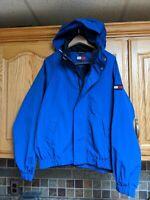 Vintage Mens Tommy Hilfiger Royal Blue  Full Zip Spring Hooded Jacket Size S