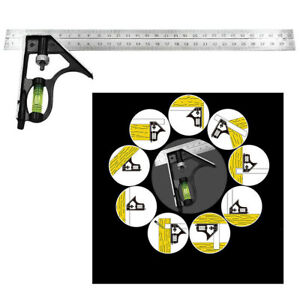12in Combination Angle Ruler Angle Protractor Layout Tools Spirit Level