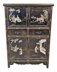 LARGE Asian Black Lacquered CHINESE CARVED STONE CHINOISERIE Style CABINET Chest