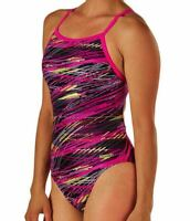 SPEEDO Fragments Drill Back PowerFlex Pink Swim Suit Womens 4 30 6 32 8 34 36 38