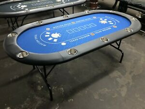 "84"" PROFESSIONAL 7FT POKER TABLE   [BLUE FELT] + JUMBO STAINLESS STEEL CUP"